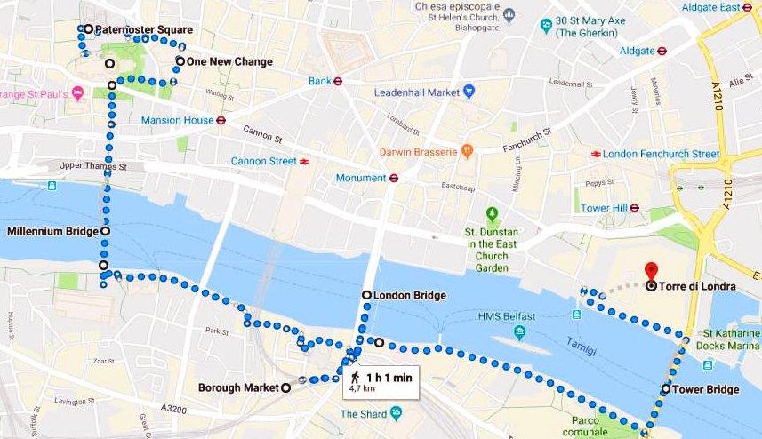 itinerario di londra in soli 3 giorni google map cartina percorso a piedi millenium bridge city the shard borough market st paul