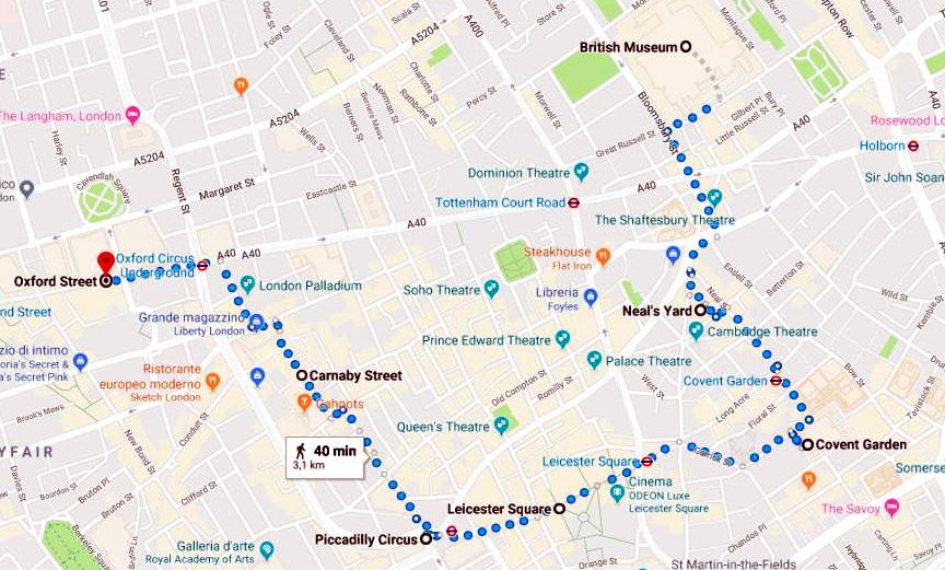 itinerario di londra in soli 3 giorni google map cartina percorso a piedi covent garden british museum piccadilly soho chinatown carnaby street tate modern